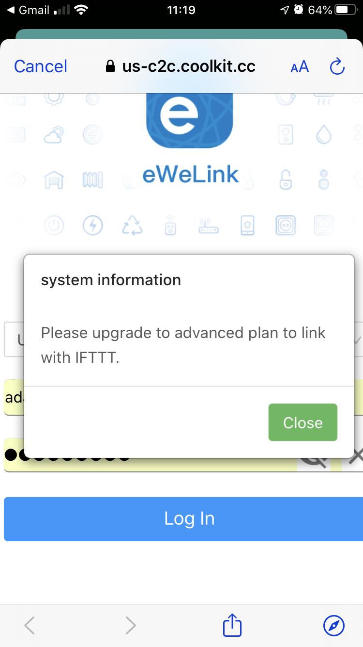 ewelink sonoff forced upgrade